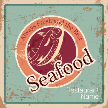 seafood restaurant advertising grunge retro design fish icon