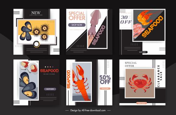 seafood sale banner templates flat marine species sketch