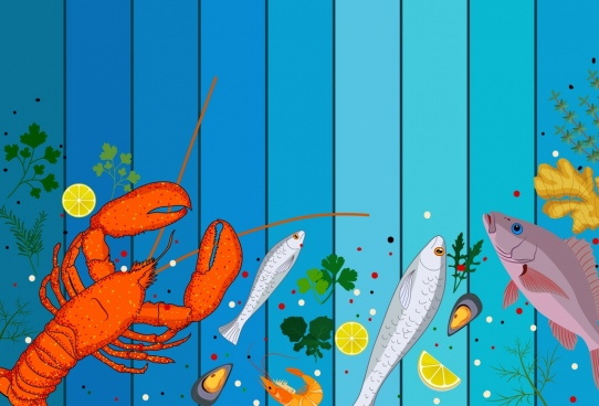 seafoods background colorful marine species icons decor