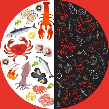 seafoods background multicolored circle layout