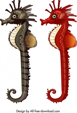 seahorse icons black red decor cartoon character sketch