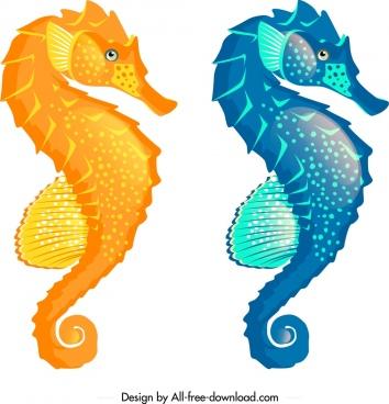 seahorse icons mockup design shiny yellow blue decor