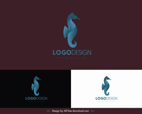 seahorse logotypes colored modern dark sketch