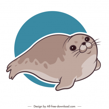 seal animal icon cute cartoon handdrawn sketch