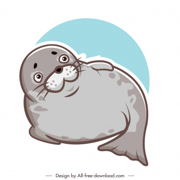 seal animal icon flat handdrawn cartoon sketch