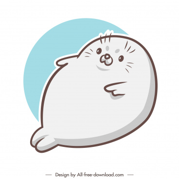 seal animal icon lovely cartoon handdrawn outline