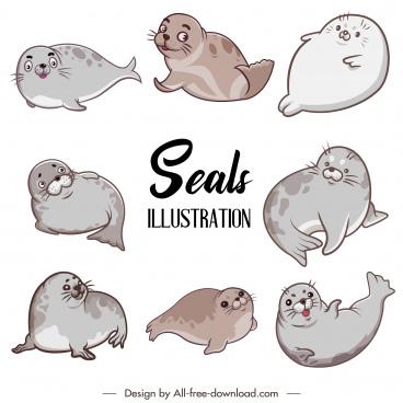 seal animals icons cute cartoon sketch