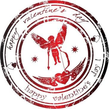 valentine stamp template retro angle wings heart decor