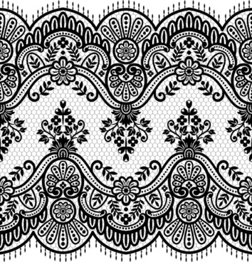 seamless black lace borders vectors