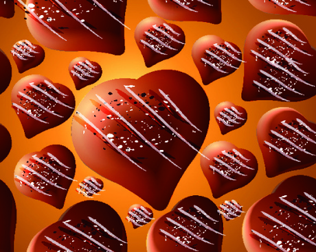 seamless chocolate hearts pattern vector