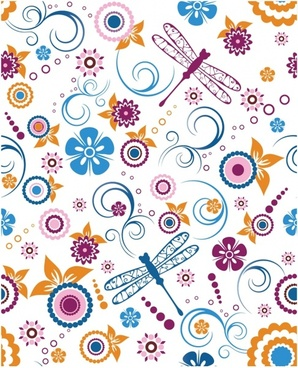 Seamless Dragonfly and Floral Pattern