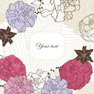 floral background template colored flat handdrawn sketch