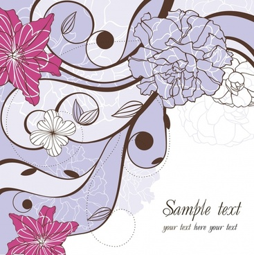 floral background template classic flat handdrawn decor