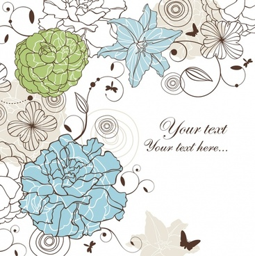 card background template elegant handdrawn petals sketch