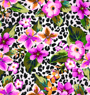 seamless flower patterns vector