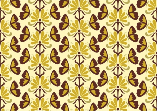 seamless pattern design classical style floral butterflies decoration