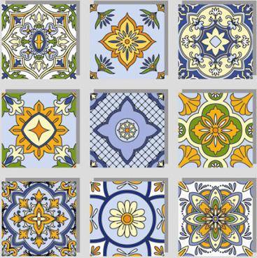 seamless pattern tile floral vector set