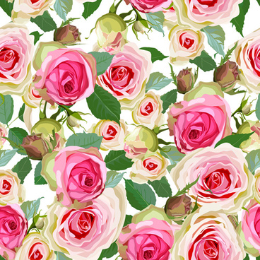 seamless pink roses vector pattern