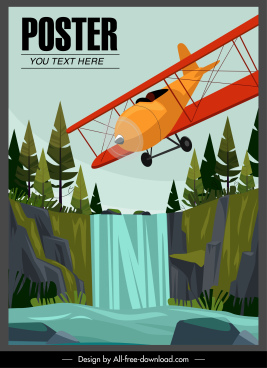 seaplane advertising poster flying sketch colorful design