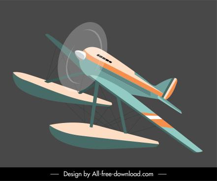 seaplane icon motion sketch classic design