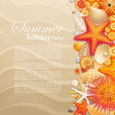 seashells starfish with summer backgrounds vector