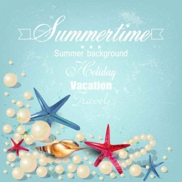 seashells with pearl summer backgrounds vector