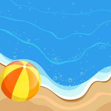 seaside and ball vector illustration with cartoon sketch