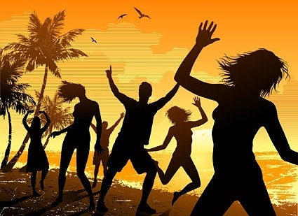 seaside carnival figures silhouette vector