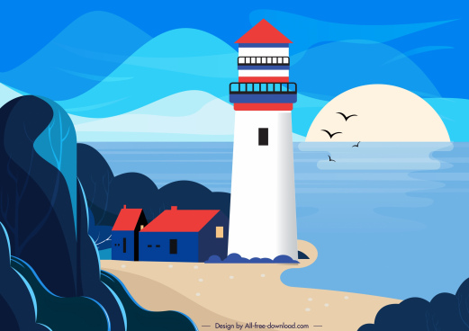 seaside landscape painting colorful classic design