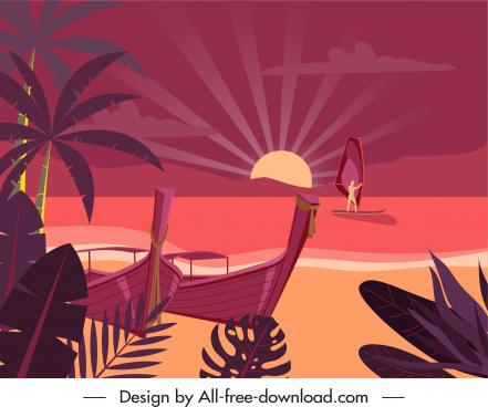 seaside scene background dark colored classic sketch
