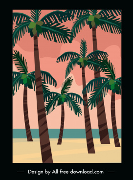 seaside scene painting coconut trees sketch retro design