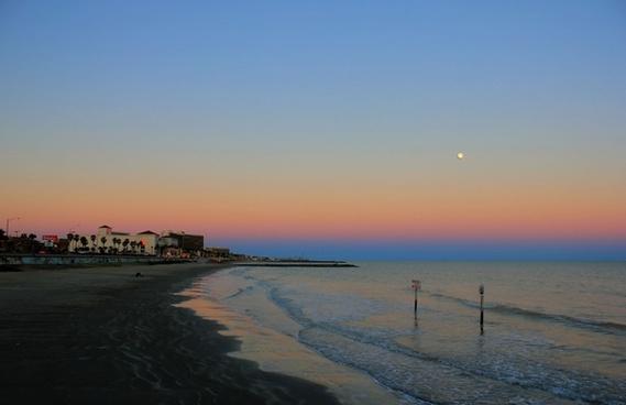 seaside town at dusk at galveston island state park texas