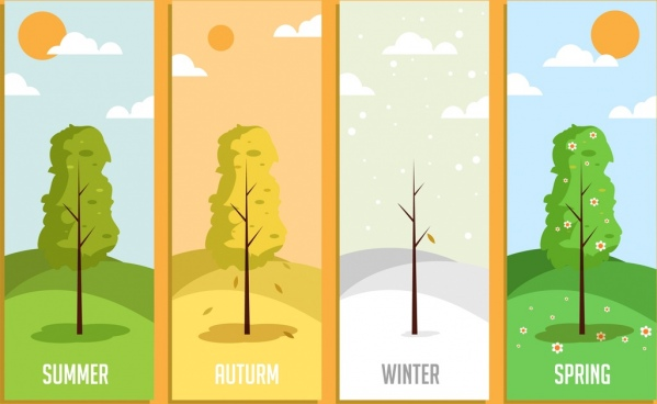 season background templates tree weather icons decor