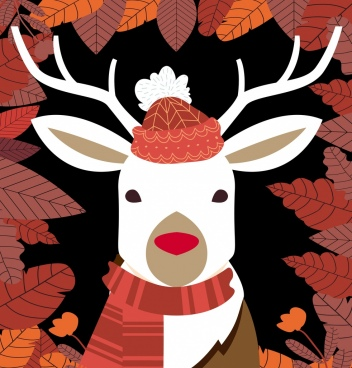 seasonal background stylized reindeer icon red leaves decor
