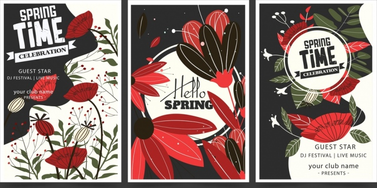 seasonal banner sets spring theme flowers decor