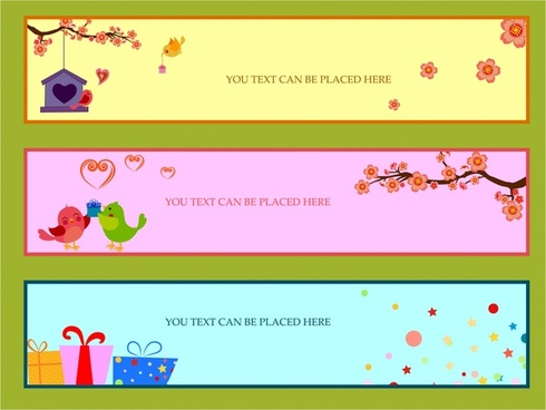 seasonal banners design sets with cute colorful style
