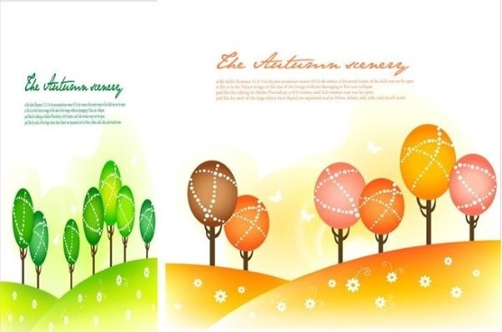 seasonal changes landscape illustrator vector 1