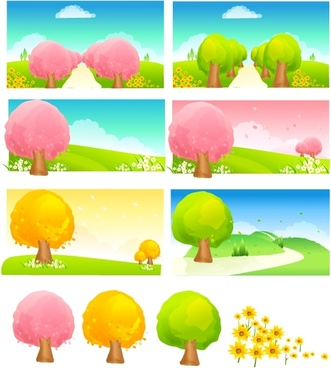 seasonal changes of trees vector