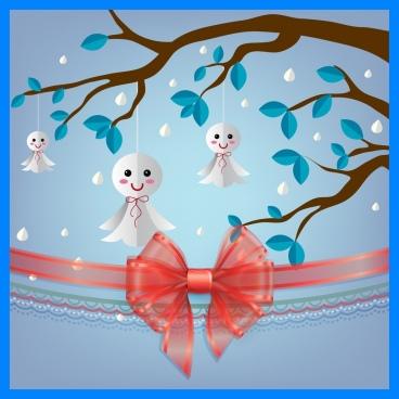 seasonal decoration background red ribbon tree effigy icons