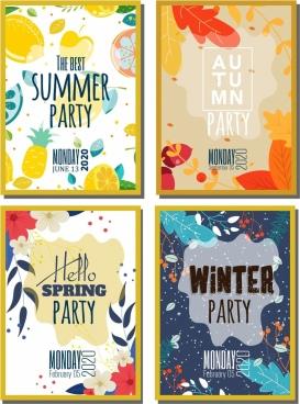 seasonal party banner sets nature theme multicolored design