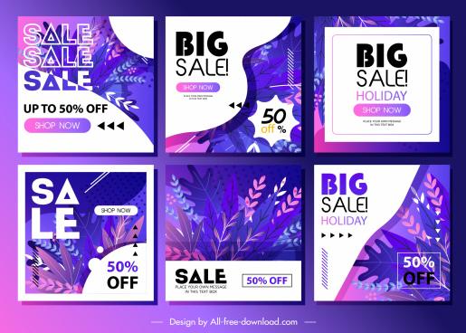 seasonal sale banners elegant colored leaves decor