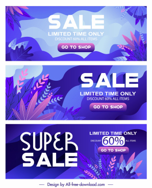 seasonal sales banners classic violet design leaves decor