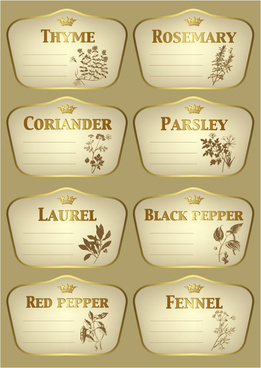 seasoning vegetation gold labels vector