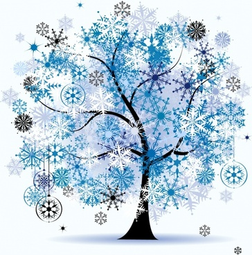 winter painting tree snowflakes icons decor flat sketch