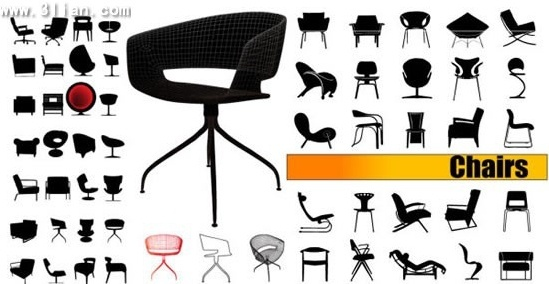 chairs advertising banner silhouette decor modern design