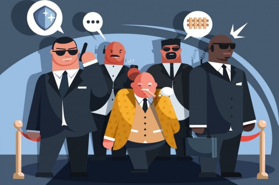 security guard work background men icons cartoon characters
