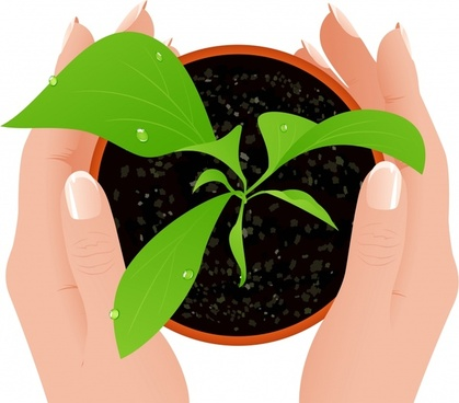 ecology background hands green plant pot icons decor