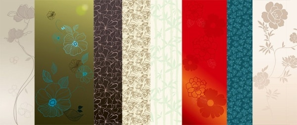 selection of flowers vector background 2