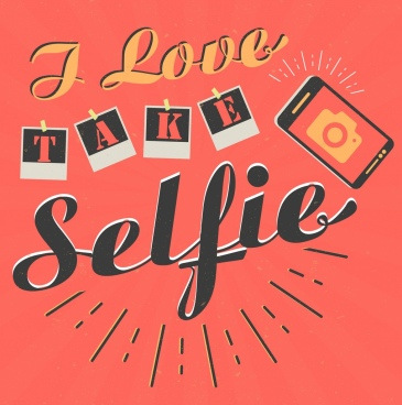 selfie banner camera icon texts decoration
