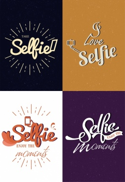 selfie banner templates isolation calligraphic text decor